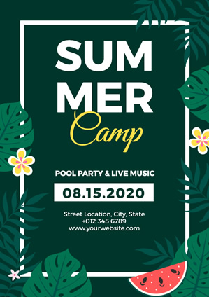 Refreshing Green Leaf and Watermelon Summer Camp Poster Poster Design