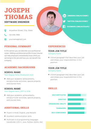 Colorful Software Engineer Resume Design