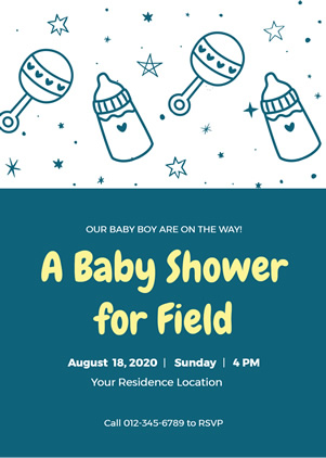 Feeding Bottle Baby Shower Invitation Design