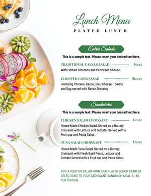 Plated Lunch Menu Design