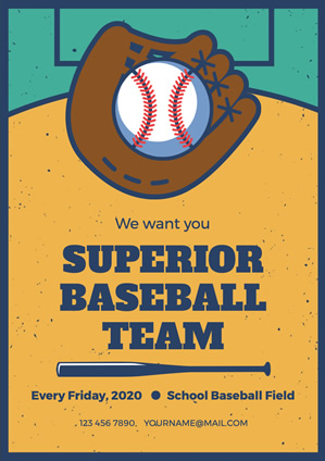 Yellow Baseball Team Recruitment Poster Design