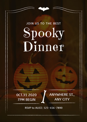 Gloomy Halloween Dinner Invitation Design