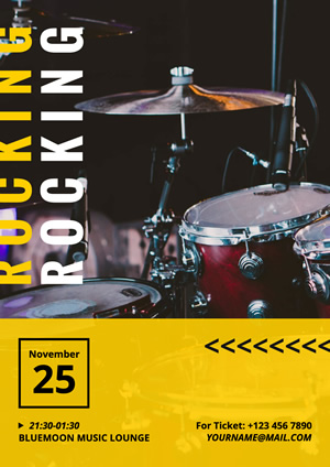Drum Set Photo Rock Poster Design