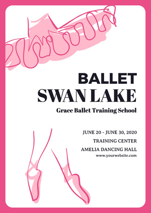 White and Pink Ballet Training Poster Design
