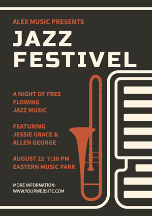 Brown Jazz Festival Poster Poster Design
