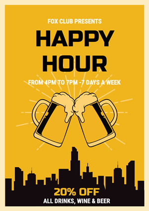 Yellow Happy Hour Poster Design