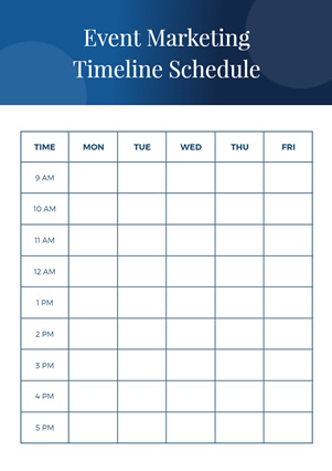 Event Marketing Timeline Schedule Schedule Design