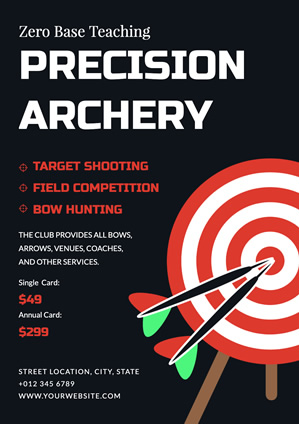 Black Archery Teaching Poster Design