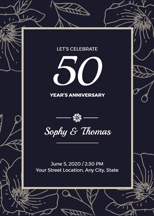 Floral 50th Anniversary Invitation Design
