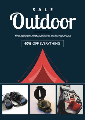 Clothing Outdoor Equipment Sale Poster Design