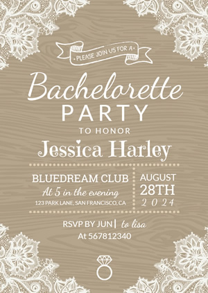 Vintage Bachelorette Invitation Design
