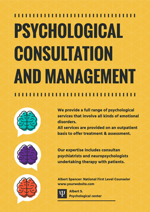 Yellow Psychological Consultation and Management Poster Poster Design
