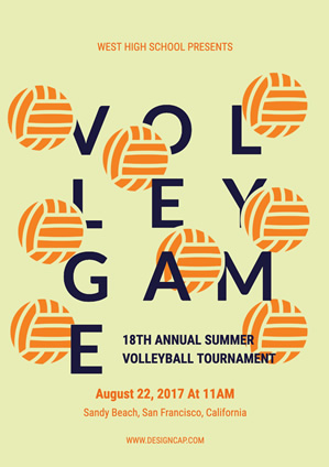 Sport Volleyball Tournament Poster Design