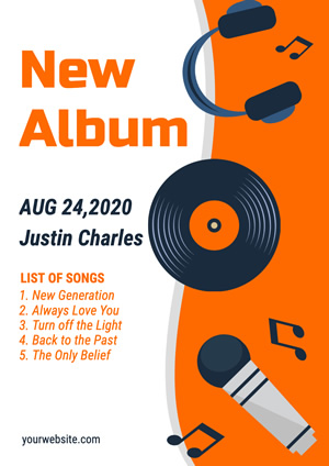 White and Orange New Album Promotional Poster Design