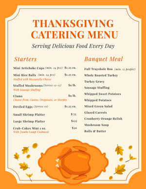 Thanksgiving Catering Menu Menu Design
