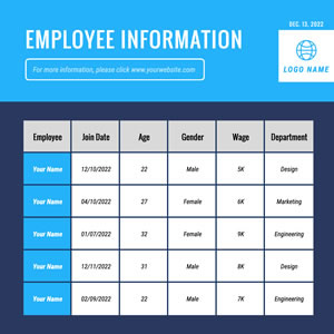 Employee Information Table Chart Design