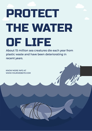 Blue Whale Water Pollution Poster Design