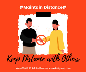 Maintain Distance Facebook Post Design