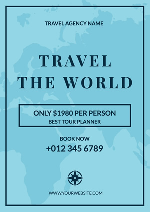 Blue Map Travel Agency Poster Poster Design