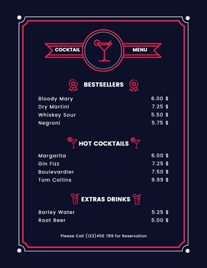 Cocktail Menu Design