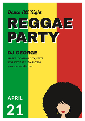 Afro Lady Reggae Party Poster Poster Design