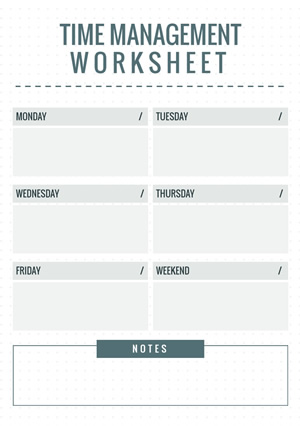 Weekly Time Management Schedule Design