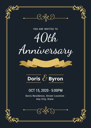 Beautiful 40th Anniversary Invitation Design