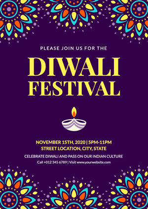 Colorful Decoration and Lamp Diwali  Poster Design