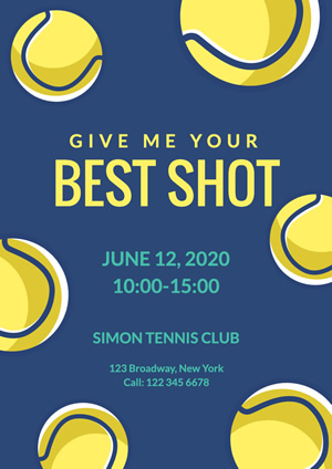 Yellow Tennis Ball Club Poster Poster Design