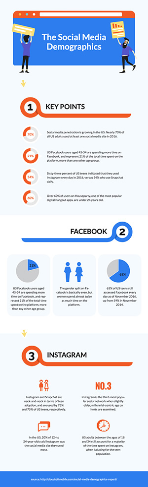 Social Media Demographics Infographic Design
