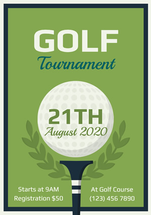 Framed Green Golf Tournament Poster Poster Design