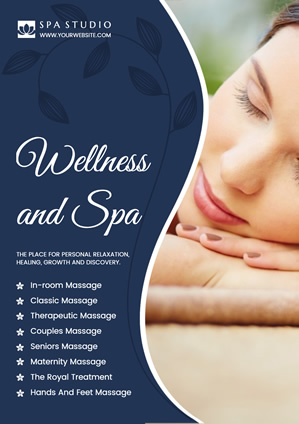Blue Spa Services Menu Poster Design