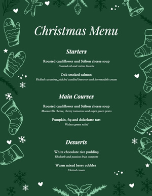 Starters Christmas Menu Design