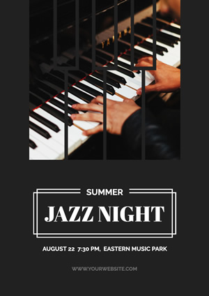 Summer Jazz Night Music Poster Poster Design