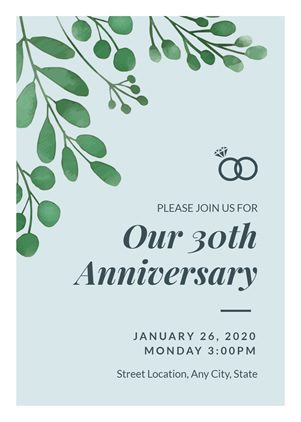 30th Anniversary Invitation Design