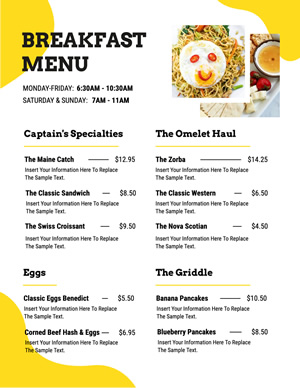 Eggs Breakfast Menu Design