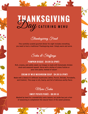 Thanksgiving Feast Menu Menu Design