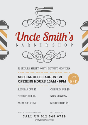 Life Barber Shop Flyer Design