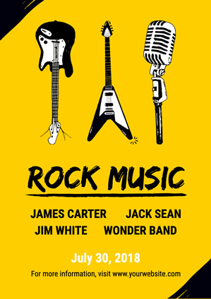Yellow Guitar and Microphone Rock Music Poster Poster Design