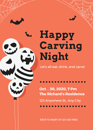 Skull Halloween Party Invitation Design