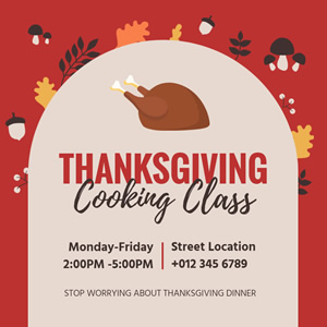 Thanksgiving Cooking Class Instagram Post Design