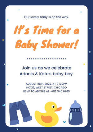 Cute Toy Duck and Feeder Baby Shower Poster Design