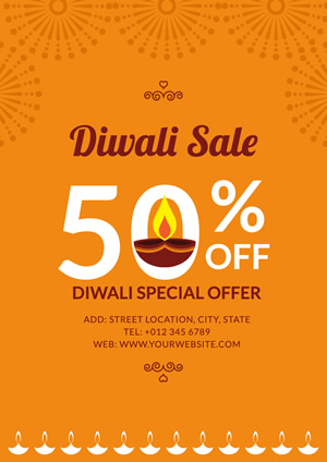 Yellow Oil Lamps Diwali Sale Poster Poster Design