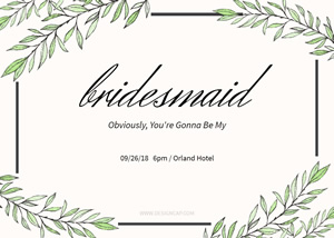 Card For Bridesmaid Card Design