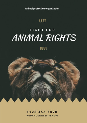 Lion Photo Animal Rights Poster Design