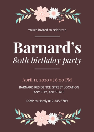 Floral 80th Birthday Invitation Design