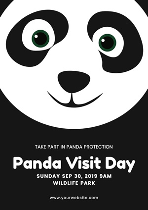 Black and White Cute Cartoon Panda Poster Design