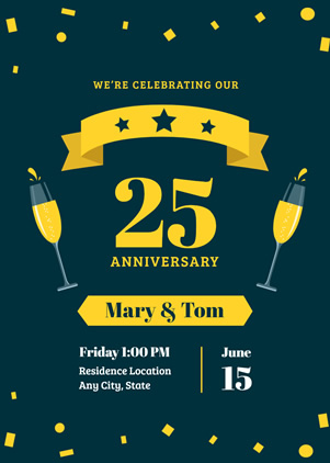 Cheering 25th Anniversary Invitation Design
