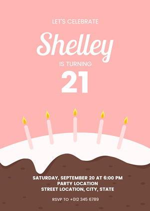 21st Birthday Invitation Design