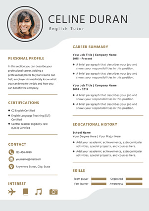 English Tutor Resume Design